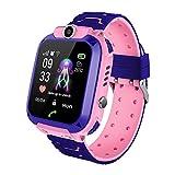 YASB Reloj Inteligente De IP67 Niños, Niños Reloj Teléfono Smartwatch para Niños Niñas con Tarjeta SIM De Regalo De La Foto para iOS Android,Pink Waterproof