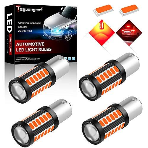 Teguangmei 4pcs 1156 BAU15S PY21W 7507 Car LED Bulbs Reversing Light Brake Light Rear Fog Lamps 900Lumens High Bright Red Waterproof 5730 33-SMD Position Light Tail Light 12-30V 3.6W