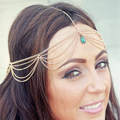 Zoestar Bohemian Turquoise Head Chain Tassel Headpiece Layered Headband Jewelry for Women