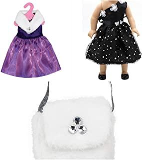 The Crafty Owl Fashion Party Dresses Sets and Accessories for 18 inch Dolls. Fits American Doll (Black Sparkles/Purple Fur Sets)