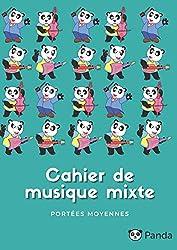 Cahier de musique mixte - Moyennes Portées: Carnet de musique avec portées de taille intermédiaire   8 moyennes portées par page   pour enfant ... format 21 x 29,7 cm (A4) (French Edition)