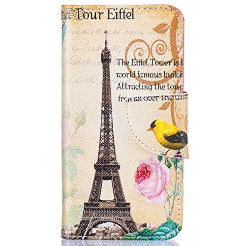 Surakey Cover Compatibile con Samsung Galaxy J3/J3 2016 Flip Libro Custodia in Pelle Stampa Portafoglio Magnetica Borsa Tasca Case con Porta Carte Pieghevole Standing Protettiva Cover,Torre di Parigi
