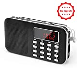 PRUNUS L-218AM Mini-Radio Portable Ultra-Fine AM(MW)/FM MP3 Micro SD AUX USB, Batterie Amovible...