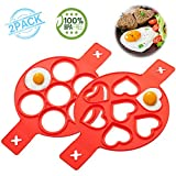 Pancake mold maker, Silicone Egg Ring Maker, 2 Pack Upgrade 14 Cavity Nonstick Baking Round /Heart Shape Mold, Cooking Tool for Frying Muffin Pancake or Shaping Eggs, Fried Egg Mold (red)