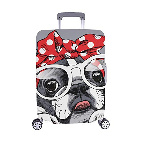 French Bulldog Portrait In A Headband And With Gla Pattern Spandex Trolley Case Travel Luggage Protector Suitcase Cover 28.5 X 20.5 Inch