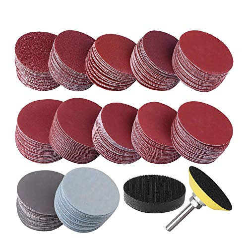 Lopbinte 300Pcs 50mm 2 Inch Sander Disc Sanding Discs 80-3000 Grit Paper with 1 Inch Abrasive Polish Pad Plate + 1/4 Inch Shank for Rotary Tool