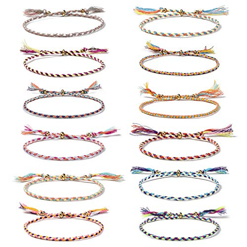 Wodasi 12 Piezas Hechas a Mano Trenzadas Pulsera, Pulsera Ajustable, Pulsera de Cuerda para Hombres Mujeres Trenzado Pulsera, Pulseras de Tejido para Amistad (Multicolor)
