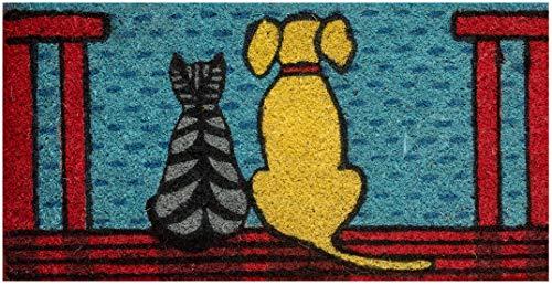 Felpudo de entrada casa coco con base de PVC pintado a mano perros en la veranda 50x25x2 cm. Fácil de limpiar y ultra resistente