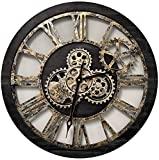 ImprovingLife 24'' Inch Real Moving Gear Wall Clock Vintage Industrial Oversized Rustic Farmhouse (Vintage Black Wood and Bronze)