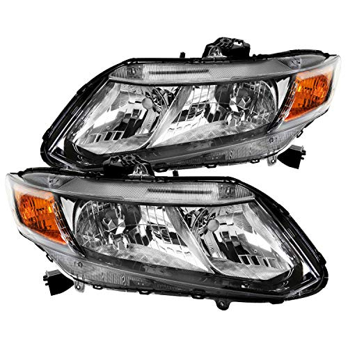 Spec-D Tuning Black Clear Side Headlights for 2012-2015 Honda Civic Coupe Head Light Assembly Left + Right Pair