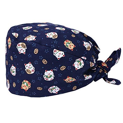 Enkudc - Copricapo a turbante, carino, stampato, da lavoro, a sbuffo, con fascia per il sudore, regolabile, legato dietro, per donne/uomini Stile 2 Taglia unica