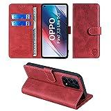 xinyunew Wallet Serie Handyhülle für Oppo Find X3 Lite 5G Hülle Leder Flip Hülle Cover Schutzhülle für Oppo Find X3 Lite 5G Tasche, Rot