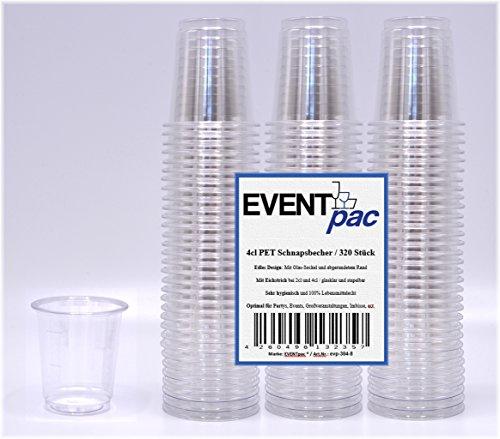 320 Schnapsbecher 4cl, glasklar, PET, mit gewölbten Rand, einweg Schnapsgläser - Exklusives Angebot der Marke EVENTpac