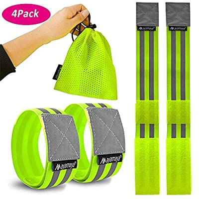 Reflective Running Gear Armband,AYAMAYA 4PCS High Visibility Elastic Wristbands/Ankle Bands/Leg Straps for Men Women - Increased Night Safety for Walking,Cycling, Jogging, Bicycle, Dog Walking, Hiking