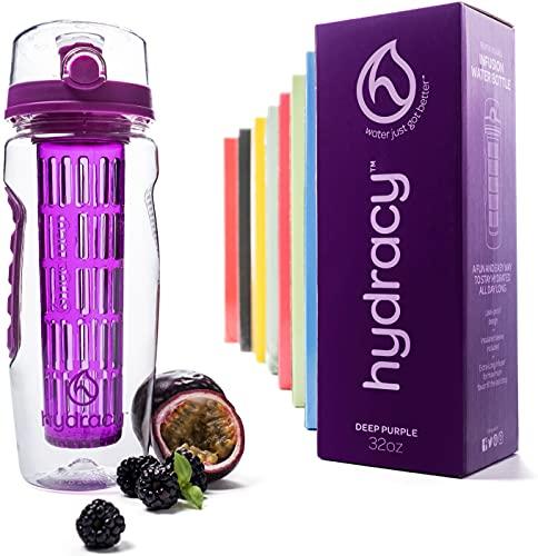 Hydracy Bottiglia con infusore per Acqua aromatizzata alla Frutta con Linee Marca Tempo e Cestino per infusione Lungo -1Litro - Senza BPA - Perfetta per depurare l'organismo, per Gli Sport Porpora