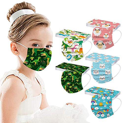 Childrens Disposable/_Mask Face Bandanas with Cute Cartoon Printed Cloth Covering Breathable Mouth/_Mask