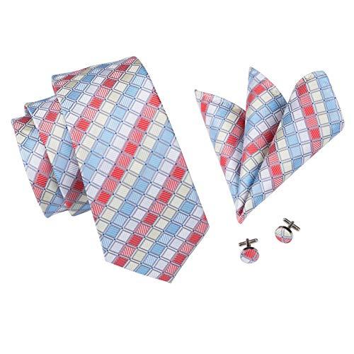 FDHFC stropdas, 8,5 cm, voor heren, geruit, stropdassen, voor mannen, echte zijde, heren, stropdassen, kostuum, formule + stropdas + vierkant + manchetknopen, formule