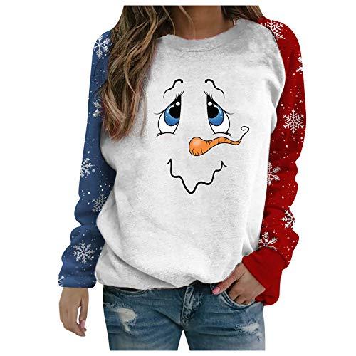 Auifor Weihnachtspullover, Damen Lustig Schneemann Druck Pullover Winter Strickpulli Langarm Rundhals Christmas Sweater Bluse Tops Oberteile(Weiß,Small)