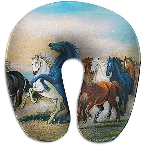 Cavalli da Corsa che dipingono la schiuma di Memoria Della cassa del cuscino a Forma di U del Collo, dolore di cuscino di riposo di viaggio di Moda, traspirante morbido confortevole regolabile