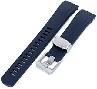 22mm Crafter Blue Rubber Watch Band, Color Dark Blue, Curved Lug for Seiko Samurai SRPB51