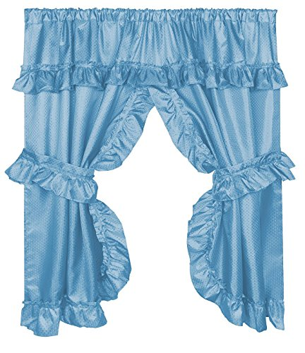 Home Bargains Plus Diamond Dot Ruffled Fabric Bathroom Window Curtain with Attached Valance and Tiebacks - Light Blue