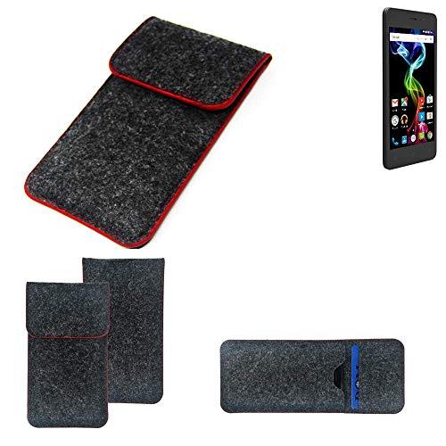 K-S-Trade® Handy Schutz Hülle Für Archos 45d Platinum Schutzhülle Handyhülle Filztasche Pouch Tasche Case Sleeve Filzhülle Dunkelgrau Roter Rand