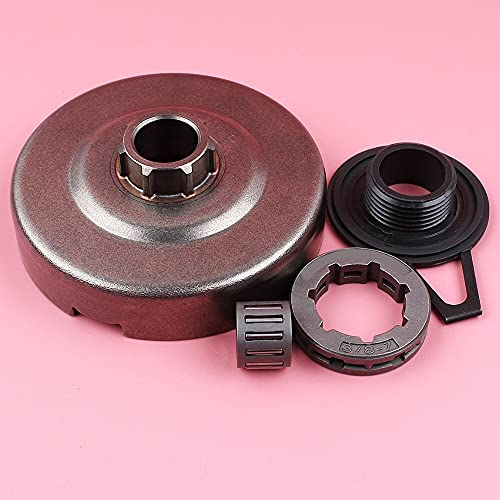 Llanta de rueda dentada de tambor de embrague 3/8 7 dientes ID 22mm para For Husqvarna 362365371372 repuesto de motosierra Kit de cojinete de agujas de engranaje helicoidal Ajuste perfecto