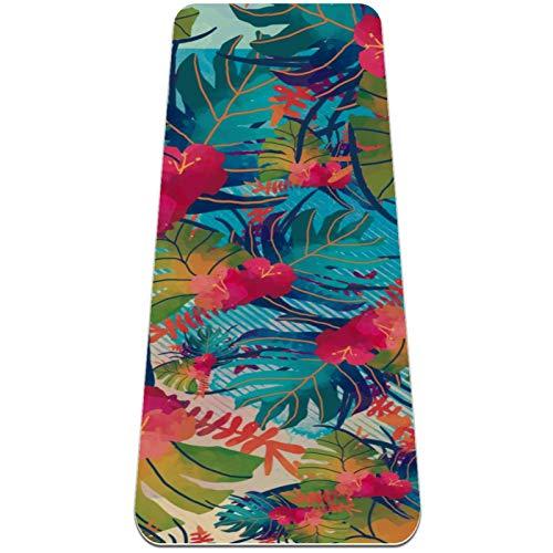 nakw88 Esterilla de yoga antideslizante con diseño de hojas de acuarela para yoga, pilates y ejercicios de suelo (72 x 24 x 6 mm) para mujeres y niñas