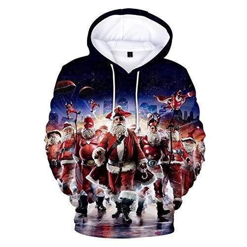 Mr.BaoLong&Miss.GO Otoño E Invierno Suéter con Capucha para Hombre Sudadera De Navidad para Hombre Suéter De Pareja De Navidad Abrigo Camisa De Fondo