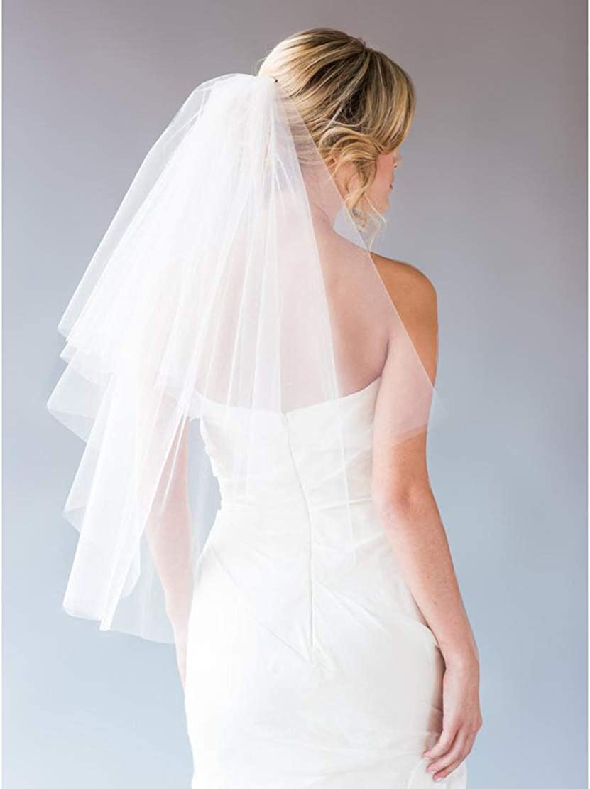 Yemruode 2T Bridal Veil with Comb for Weddings and Photos(Available in White and Light Ivory)