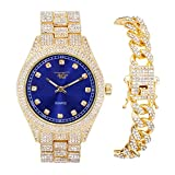 Men's ICY Bling-ed Out Bust Down Gold Watch with CZ Diamond Iced Band and CZ Stud Indicators (Blue Dial) + Matching ICED Culture Cuban Link Bracelet with Butterfly Clasp