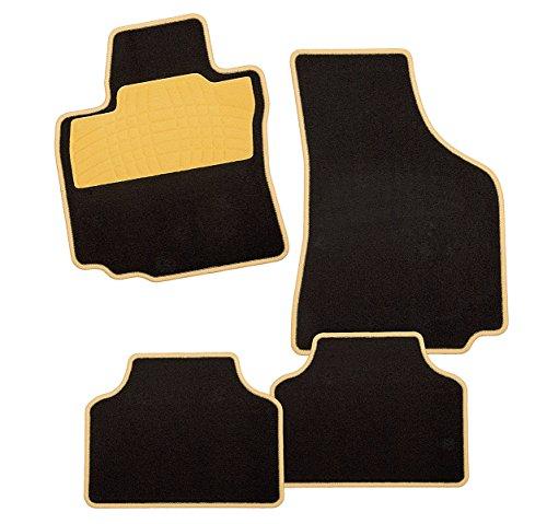 carfashion Colori Jaune DL4, Tapis de sol auto en noir, avant et arrière, sans support Tapis, pour Carens IV, année de construction 11/2016–00/0000