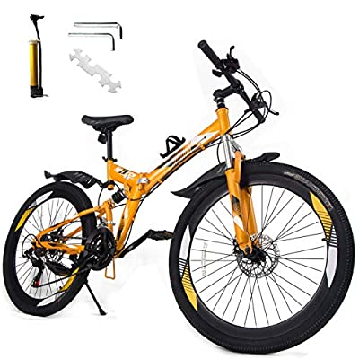 GENCH 21 Speed 26 Inches Folding Full Suspension Mountain Bike Bicycle MTB Spoke Wheels Bike with Installation Tool Pump