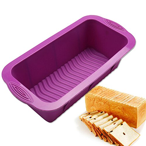 Silicone Bread and Loaf Pan, Youthful 10-inch Non-Stick Baking Pan Rectangle Cake Mould Bread Mold DIY Baking Molds for Homemade Cakes Making Craft Mould - Random Color (1 Pack)