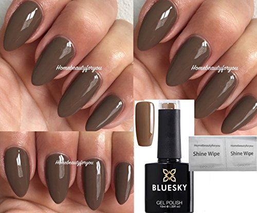 BlueSky A20Mudslide argilla marrone cioccolato con smalto gel UV LED soak off 10ml plus 2Homebeautyforyou Shine Wipes