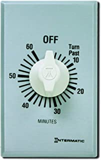 Intermatic FF60MC 60-Minute Spring Wound Countdown Wall Timer, Brushed Metal Finish