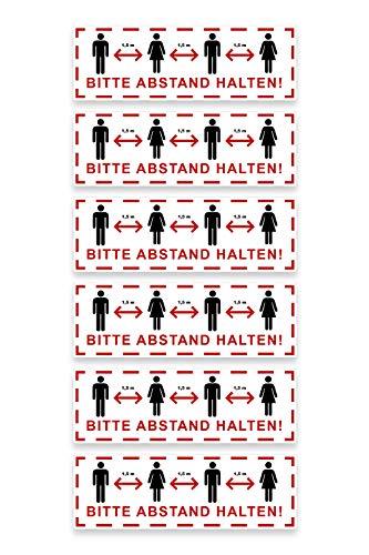 6 x Aufkleber Bitte Abstand HALTEN 30 x 10 cm selbstklebend - Bodenaufkleber rot & weiß (Corona Mindestabstand 1,5 m)