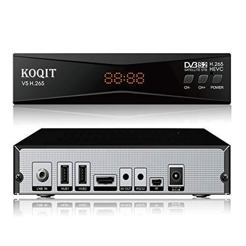 Koqit V5H H.265 FTA Satellite Receiver DVB-S2 (T2-MI) DVB S2 Galaxy 19 Satellite TV Receiver Finder Sat Decoder Meecast Biss Key YouTube TV Box