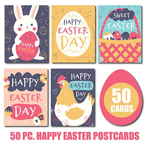Happy Easter Cards/Easter Postcards: Assorted Easter Greeting Cards Set Includes 50 Spring Greeting Cards; 5 Different Card Designs (10 of each); Easter Cards For Children; Dayspring Easter Cards