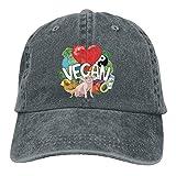 Aeykis Vegan Chicken Pig Denim Hut verstellbare Herren Low Baseball Caps