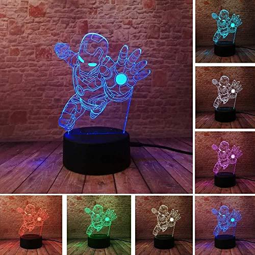 GOXJNG Regalos de la ilusión 3D Vengadores lámpara Iron Man Noche Visual luz LED Mavel superhéroe Tabla óptico lámpara de cabecera del Partido de la decoración del Sitio los Juguetes de Navidad