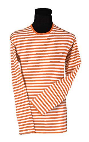 narrenkiste T2594-1202-3XL - Camisa de payaso (manga larga, talla 3XL), color naranja y blanco