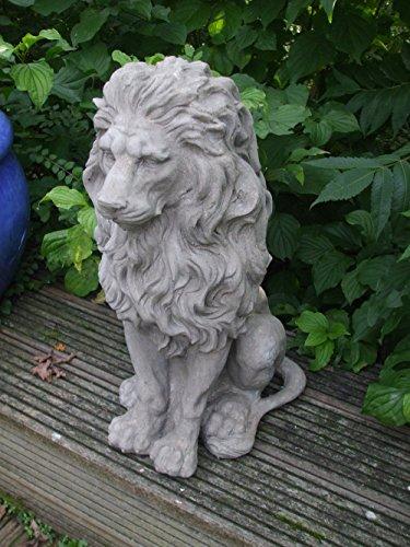 Traumschöner Löwe, Dekofigur, Statue, Skulptur, Sandstein-Optik, grau