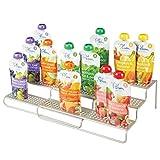 mDesign Adjustable, Expandable Kitchen Cabinet Metal Wire Kid/Baby Food Storage Shelf Organizer Rack Holder - for Pouches, Jars, Bottles, Formula, Juice Boxes - 3 Level Storage, Up to 25' Wide - Satin