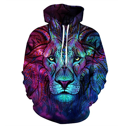 NooobTerrm Unisex Realistic 3D Print Galaxy Pullover Hoodie Hooded Sweatshirt(XX-Large/XXX-Large, Colorful Lion)