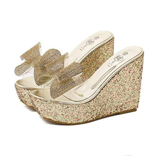 Voltear sandalias de las mujeres abiertas del dedo del pie, talón de la cuesta del Rhinestone sandalias, zapatillas, zapatillas de plataforma del bowknot de las mujeres-gold_35, antideslizante Ducha s