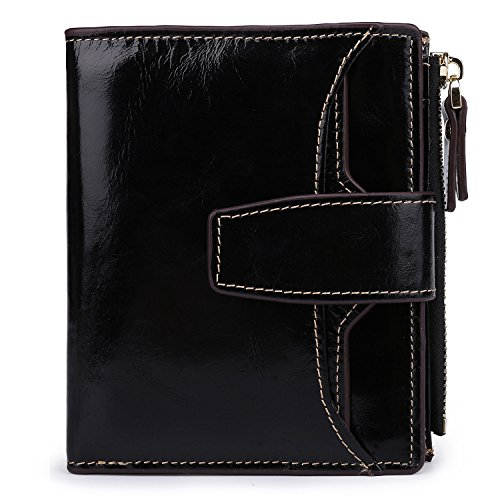AINIMOER Women's RFID Blocking Leather Small Compact Bi-fold Zipper Pocket Wallet Card Case Purse (Waxed Black)