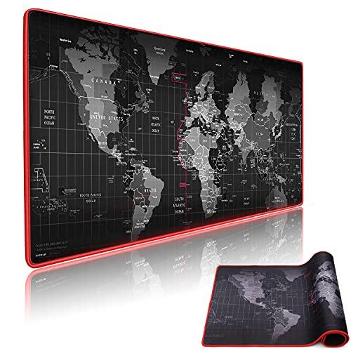 MCSWKEY Alfombrilla de Ratón Gaming, 800 x 300mm Alfombrilla de ratón con Mapa del Mundo, Alfombrilla de Escritorio Impermeable Base...