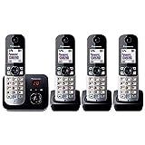 Panasonic KX-TG6824GB DECT Schnurlostelefon mit Anrufbeantworter (Telefon mit 4 Mobilteilen, strahlungsarm, Eco-Modus, GAP Telefon, Festnetz) schwarz -