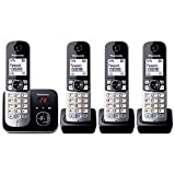 Panasonic KX-TG6824GB - Teléfono (120 entradas, LCD, 103 x 65 Pixeles, Monocromo, 107 x 77 x 86 mm,...